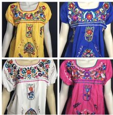 WOMANS PEASANT HANDMADE EMBROIDERED MEXICAN BLOUSES ASSORTED COLORS AND SIZES EL