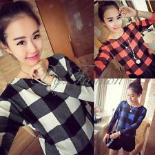 New Women Long Sleeve Plaid Check Crop Tops Blouse T Shirt Pullover Jumper Slim