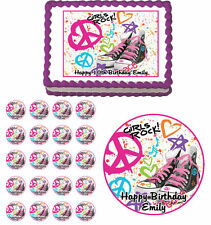 Totally 80s Peace Edible Birthday Cake Cupcake Toppers Party Decorations Images