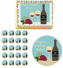 Wine Tasting 30th 40th  Birthday Cake Cupcake Toppers Party Decorations Images