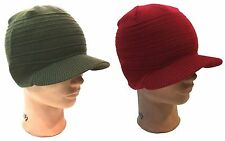 Mens Winter Knit Cap Beanie Ski Knit Beanie Visor Cap Hat - Olive Green, Red