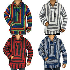XXL Baja Hoodie Hippie Surfer Mexican Poncho Sweater Size Assorted Colors Skater