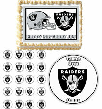 Oakland Raiders Edible Birthday Cake Cupcake Toppers Party Decorations Images