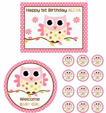 Pink Owl Edible 1st Birthday Baby Shower Cake Cupcake Toppers Party Decorations