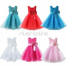 Kids Girls Princess Xmas Clothes Fancy Flower Party Wedding Gown Formal Dress
