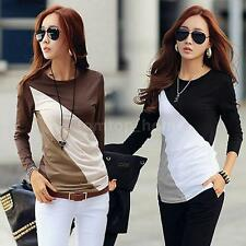 Korean Womens T-Shirt Patchwork Crew Neck Long Sleeves Casual Slim Blouse Tops