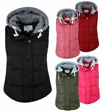 Womens Padded Gilet Hoody Hooded Bodywarmer Jacket UK 8-12