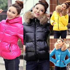 Women Winter Warm Fur Collar Down Jacket Hooded Parka Coat Overcoat Outerwear