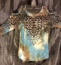 NWT Women's VOCAL, Multi Color LSTop, bling,Machine washable