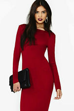 scoop neck body-con burgundy midi dress s m l knee length long sleeve