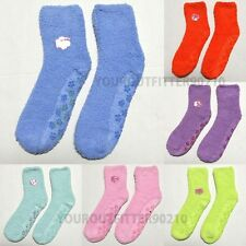 6, 12 Pairs Womens Plain Stripes Fuzzy Non-Skid Soft Winter Slipper Socks 9-11