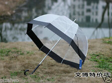 Black Transparent - Clear Dome-Birdcage - contracted Manual open an umbrella