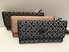 Tommy Hilfiger Women's Wallet w/ Check Book Cover Black Navy Blue Multi Clutch