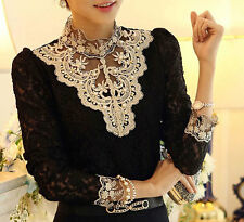 Women's Korean Lace Floral Slim Fit Tops Long Sleeve T Shirt Blouse Fashion HOT