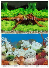 """12""""tall (30cm)""""WOOD/CORAL"""" 2 SIDED BACKGROUND AQUARIUM PICTURE FISH TANK DECOR"""