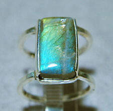 Labradorite 10.03ct Rectangle Cabochon Sterling Silver Open Ring