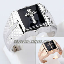 A1-R3139 Men's Black Glaze Cross Ring 18KGP use Swarovski Crystal