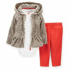 NEW NWT Girls Carter's 3 Piece Fleece Cardigan Set Newborn 3 6 9 12 18 24 Months
