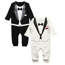 Boys Baby Formal Suit Romper Print Bowtie Jumpsuit Gentleman Clothes 6-24M