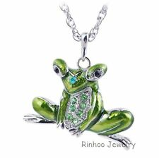 Lovely Frog Long Necklace Sweater Chain Enamel Costume Party Silver Plated Charm