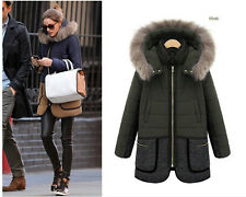 2014 new Slim large size women's hooded long section of thick fur collar coat