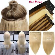120g 5Clips On One Hairpieces Remy Clip In Real Human Hair Extensions Full Head