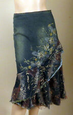WEST 36TH BLUE RUST BLUE DENIM JEANS GLITTER LACED BEADS FLOWERS SKIRT 3263