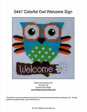 Colorful Owl Welcome Sign- Plastic Canvas Pattern or Kit