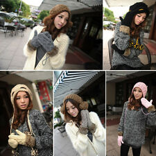 18 Colors Women Warm Winter Knit Thick Gloves Lady One Size Fur Lining Mittens
