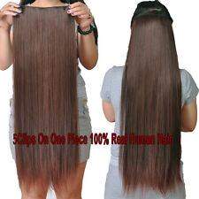 200g 5clips On One Hairpieces 100%Real Human Hair Extensions,Black,Brown,Blonde
