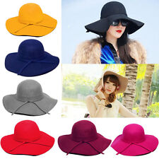 New Vintage Women's Wide Brim Wool Felt Bowler Fedora Hat Floppy Cloche Sun Cap