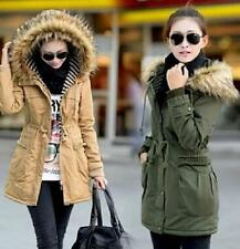 Women faux fur lining hooded drawstring coat winter clothes thick padded jacket