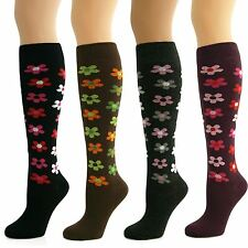 4 Pairs Womens Ladies Girls Knee High Long Flower Pattern Socks New