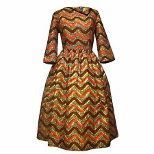 African Print Ankara Asymmetrical Neckline Fit and Flare Dress- Pink/Brown/Gold