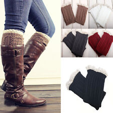Women Girls Crochet Knitted Lace Trim Boot Cuffs Socks Toppers Leg Warmers