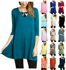 USA Women Boat Neck Dolman Top 3/4 Sleeve Long Tunic Knit Dress S M L XL Plus