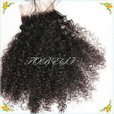 6A FreePart Mongolian Afro Kinky Curl 100%Virgin HumanHair Lace Top Closure3.5*4