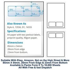 A4 Adhesive Invoice Packing Address Labels Integrated Label 2 Per Sheet 90Gsm