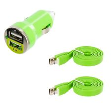 Green Dual 2 Port USB Car Charger 2.1+1 Amp + 2X Flat Cable For Cell Phones