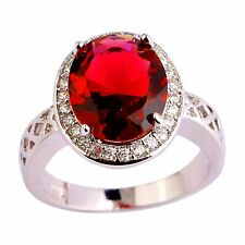 Bridal Ruby Spinel Gemstone Silver Jewelry Women Ring Size 7 8 9 10 11 12 Gift