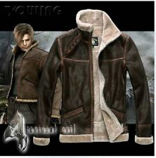 &&&& RE4 RESIDENT EVIL 4 LEON KENNEDY'S PU Faux LEATHER FUR JACKET