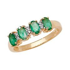 9ct Yellow Gold Emerald & 1pt Diamond 4 Stone Oval Eternity Style Ring *RD258E