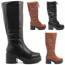 WOMENS LADIES HIGH HEEL CHUNKY CLEATED SOLE GOTHIC PUNK KNEE HIGH BIKER BOOTS