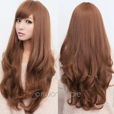 Womens Long Brown Curly Wavy Full Wigs Party Hair Cosplay Fashion Wig Fashion E5
