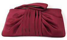 NWT KATE LANDRY 10OC SATIN EVENING BAG W/ WRIST STRAP WINE OR BROWN IN GIFT BOX