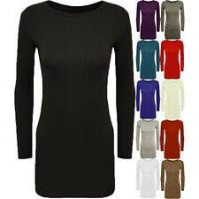 New Womens Long Sleeve Bodycon Dress Ladies Jersey T Shirt Top Plus Size US 4-12