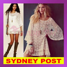 Vintage Sexy Hippie Boho Bell Sleeves Gypsy Floral Fringe Lace Crochet MiniDress
