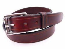 "Men's 1 1/4"" Chestnut Show Harness Leather Belt With Saddle Groove Nickel-Free"