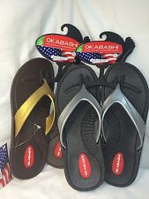 OKABASHI FLIP FLOPS SANDALS BROWN W/ GOLD  BLACK W/ SILVER BUILT IN FOOT THERAPY