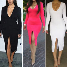 Sexy Women Bodycon Bandage Slim Long Sleeve Cocktail Party Clubwear Maxi Dress